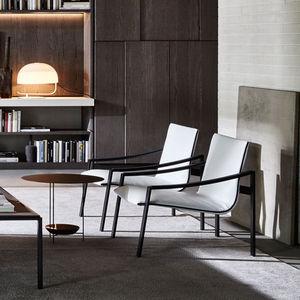 fauteuil contemporain / en métal / en tissu / en cuir