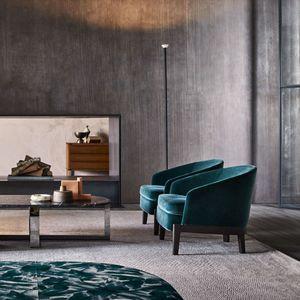 fauteuil contemporain / en tissu / en cuir / vert