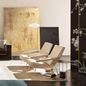 fauteuil contemporain / en tissu / en cuir / en laiton