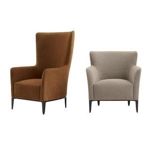 fauteuil contemporain / en tissu / en cuir / à dossier haut