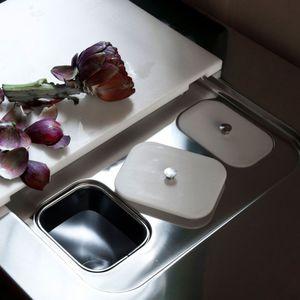 poubelle de cuisine / encastrable / en inox / contemporaine