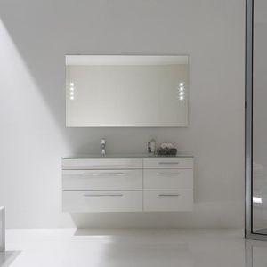meuble vasque suspendu / stratifié / design / avec miroir lumineux