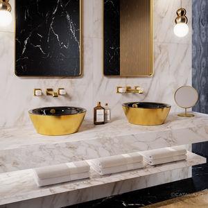 vasque double / à poser / ronde / en céramique