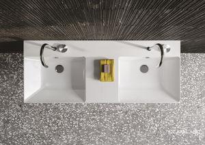 vasque double / murale / rectangulaire / en céramique