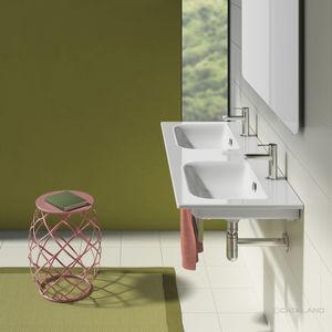vasque double / suspendue / rectangulaire / en céramique