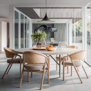 table à manger contemporaine / en bois laqué / avec piètement en aluminium / rectangulaire