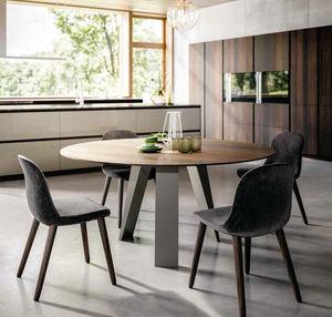 table à manger contemporaine / en noyer / avec piètement en marbre / rectangulaire