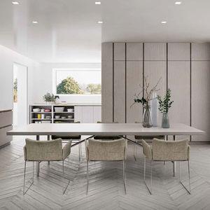 table à manger contemporaine / en chêne / avec piètement en aluminium / rectangulaire