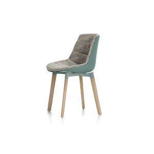 chaise de salle à manger contemporaine / tapissée / avec coussin amovible / en bois