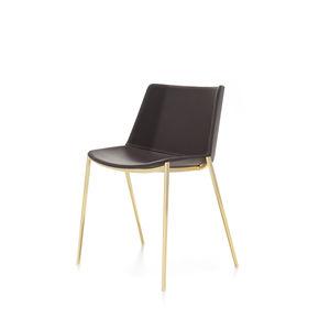 chaise contemporaine / tapissée / avec accoudoirs / empilable