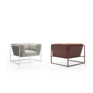 fauteuil contemporain / en tissu / en acier inoxydable / marron