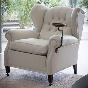 fauteuil classique / en toile / en cuir / à oreilles