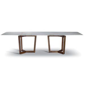 table à manger contemporaine / en bois / en marbre / avec piètement en bois
