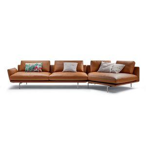canapé d'angle / contemporain / en tissu / en cuir