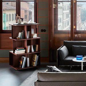 bibliothèque contemporaine / en noyer / en MDF / en acier peint