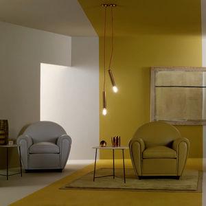 fauteuil Art Déco / en cuir / en bois / avec accoudoirs
