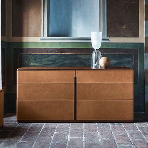buffet contemporain / bois / en cuir / en marbre