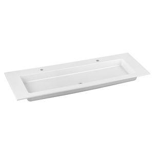 vasque double / à encastrer / rectangulaire / en céramique