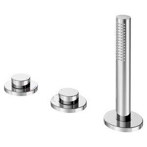 mélangeur pour baignoire / à poser / en métal chromé / de salle de bain