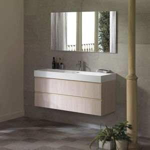 meuble vasque double / suspendu / en chêne / stratifié
