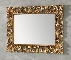 miroir de salle de bain mural / classique / rectangulaire / doré