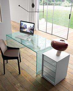 caisson de bureau en aluminium / en verre / à 4 tiroirs