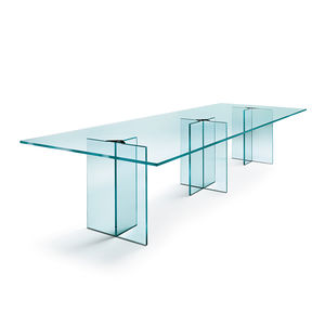 table de réunion contemporaine / en verre / rectangulaire / transparente
