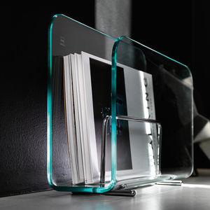 porte-revues contemporain / résidentiel / en acier / en verre bombé