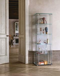 vitrine contemporaine / en verre / en aluminium / éclairée