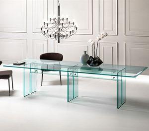 table à manger contemporaine / en verre / rectangulaire / transparente
