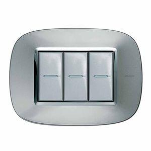 interrupteur bouton poussoir / encastré / triple / en inox