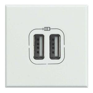 prise USB / double / murale / en inox