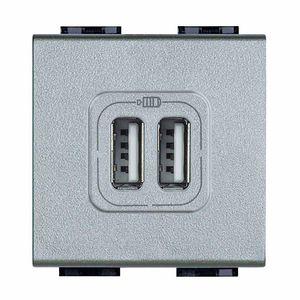 prise USB / double / murale / en métal