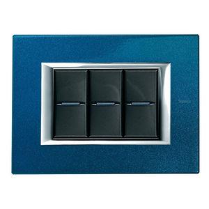 interrupteur à bouton poussoir / encastré / triple / en aluminium
