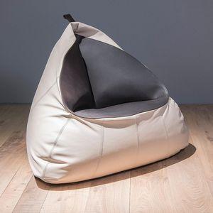 fauteuil poire contemporain / en cuir / gris / bleu
