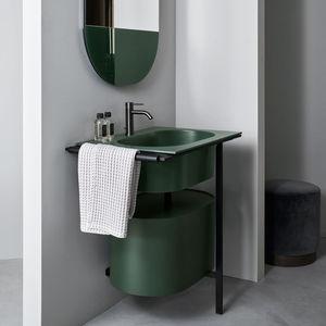 meuble vasque à poser / en bois / en céramique / en métal