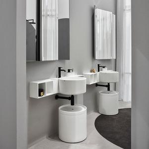 vasque double / suspendue / ronde / en céramique