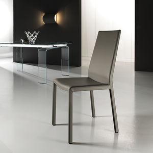 chaise contemporaine / tapissée / en cuir / en acier