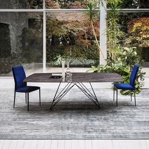 table à manger contemporaine / en verre / en acier / en céramique