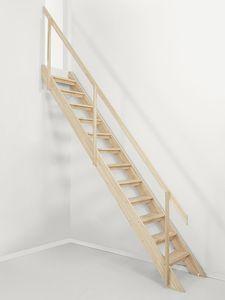 escalier droit / structure en bois / marche en bois / sans contremarche