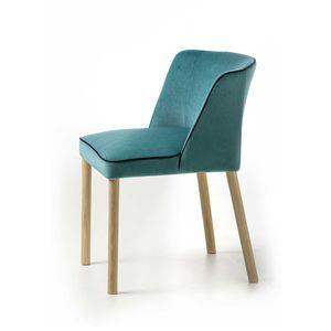 chaise contemporaine / tapissée / en tissu / en frêne