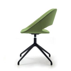 chaise visiteur contemporaine / tapissée / piètement étoile / pivotante