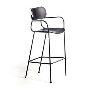 chaise de bar contemporaine / avec repose-pieds / avec accoudoirs / en frêne