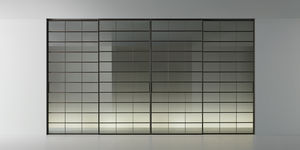 porte d'intérieure / coulissante / en noyer / en aluminium