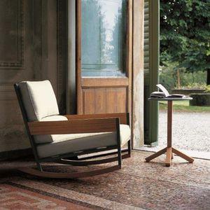 fauteuil contemporain / en tissu / en teck / en métal