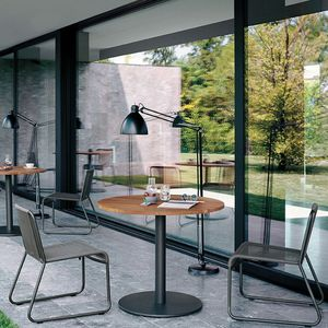 table bistrot contemporaine / en HPL / en teck / ronde