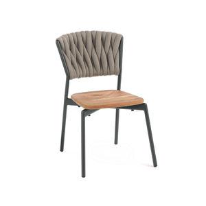 chaise contemporaine / avec accoudoirs / empilable / en tissu