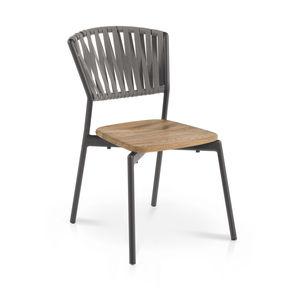 chaise contemporaine / empilable / avec coussin amovible / en teck