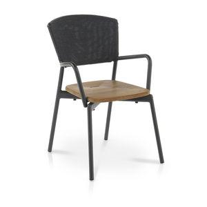 chaise contemporaine / avec accoudoirs / empilable / avec coussin amovible