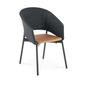 chaise contemporaine / tapissée / avec accoudoirs / avec coussin amovible